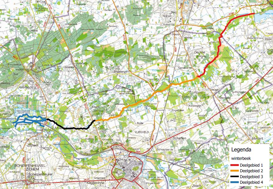Deelgebieden sanering Winterbeek