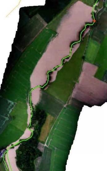 Overzichtsfoto van het gecontroleerd overstromingsgebied (GOG) van in Herne tot aan de Waalse grens.