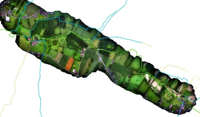 Hoe meer we richting Galmaarden trekken, hoe beter de situatie lijkt. Weinig wateroverlast.