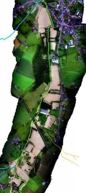 Overzicht van de zone tussen het gecontroleerd overstromingsgebied (GOG) en de Mark in Herne.