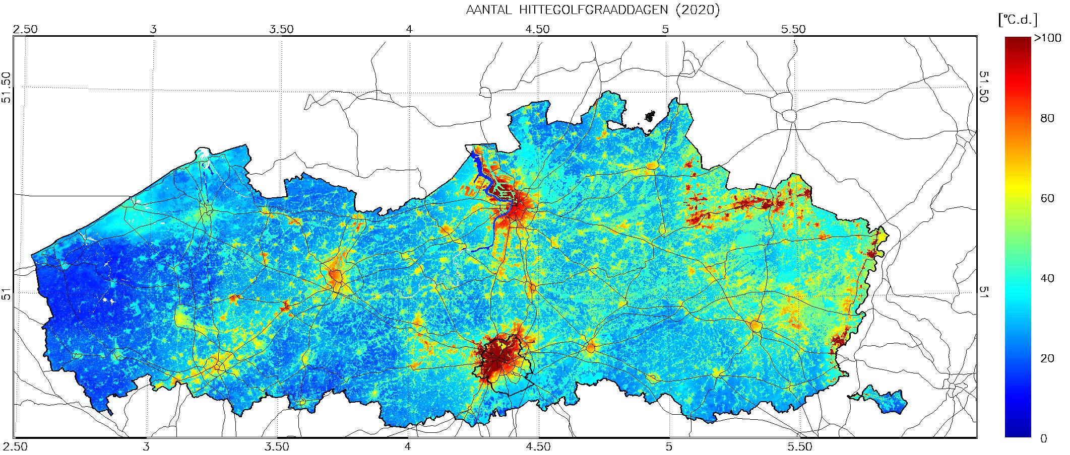 Spreiding voorkomen aantal hittegolfgraaddagen in de zomer van 2020 (Vlaanderen)