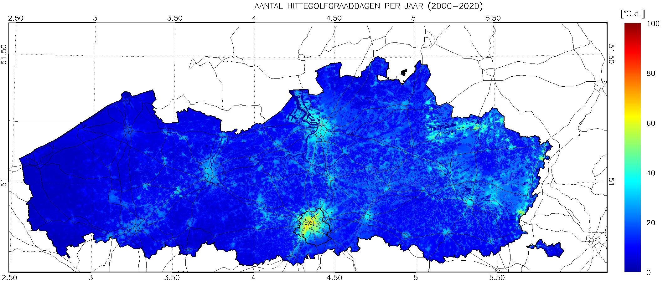 Spreiding voorkomen aantal hittegolfgraaddagen onder huidig klimaat (Vlaanderen, 2000-2020)