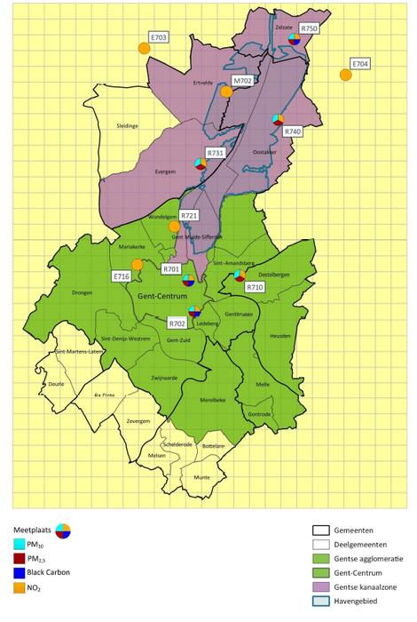 Kaart gebied actieplan fijn stof en stikstofoxide Gent