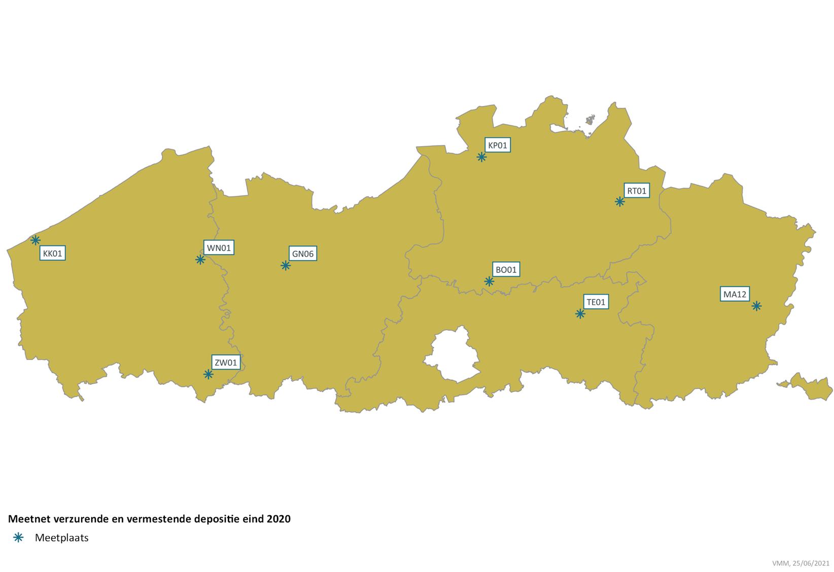 Overzicht meetnet verzuring en vermesting op kaart van Vlaanderen