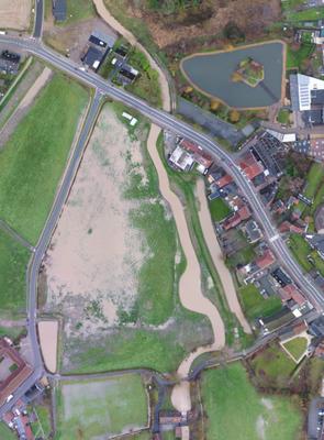 Dronebeeld overstromingen Herne