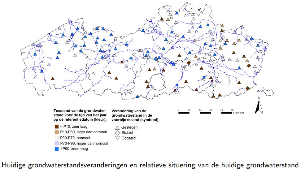 kaart Vlaanderen met overzicht stijging/daling grondwater