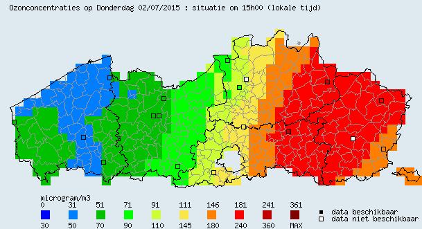 Overzicht ozonconcentraties op kaart Vlaanderen. Stand van zaken 2 juli 15:00