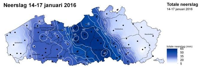 Kaart van Vlaanderen met de gevallen neerslag.