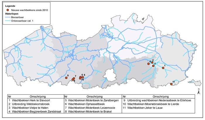 Overzicht gerealiseerde wachtbekkens sinds 2010 op de onbevaarbare waterlopen van 1e categorie