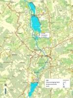Kaart met een overzicht van de geplande wachtbekkens, vistrap en poelen op het grondgebied van Wellen (Haspengouw).