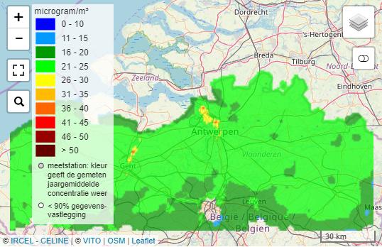 Interactieve kaart luchtkwaliteit in je eigen gemeente