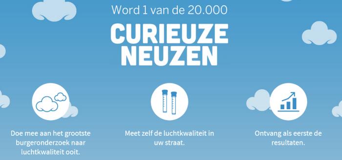 20.000 burgerwetenschappers gezocht om de luchtkwaliteit in hun straat, aan hun school of bedrijf te onderzoeken.