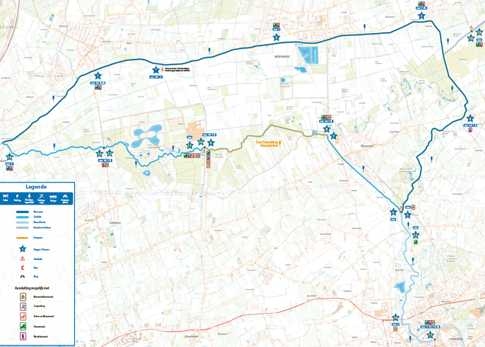 Kaart peddelroute Waasland