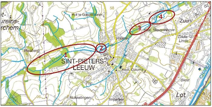 Kaart projectgebieden Zuunbeek