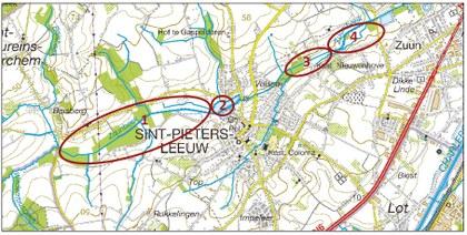 Kaart projectgebieden Zuunbeek Sint-Pieters-Leeuw