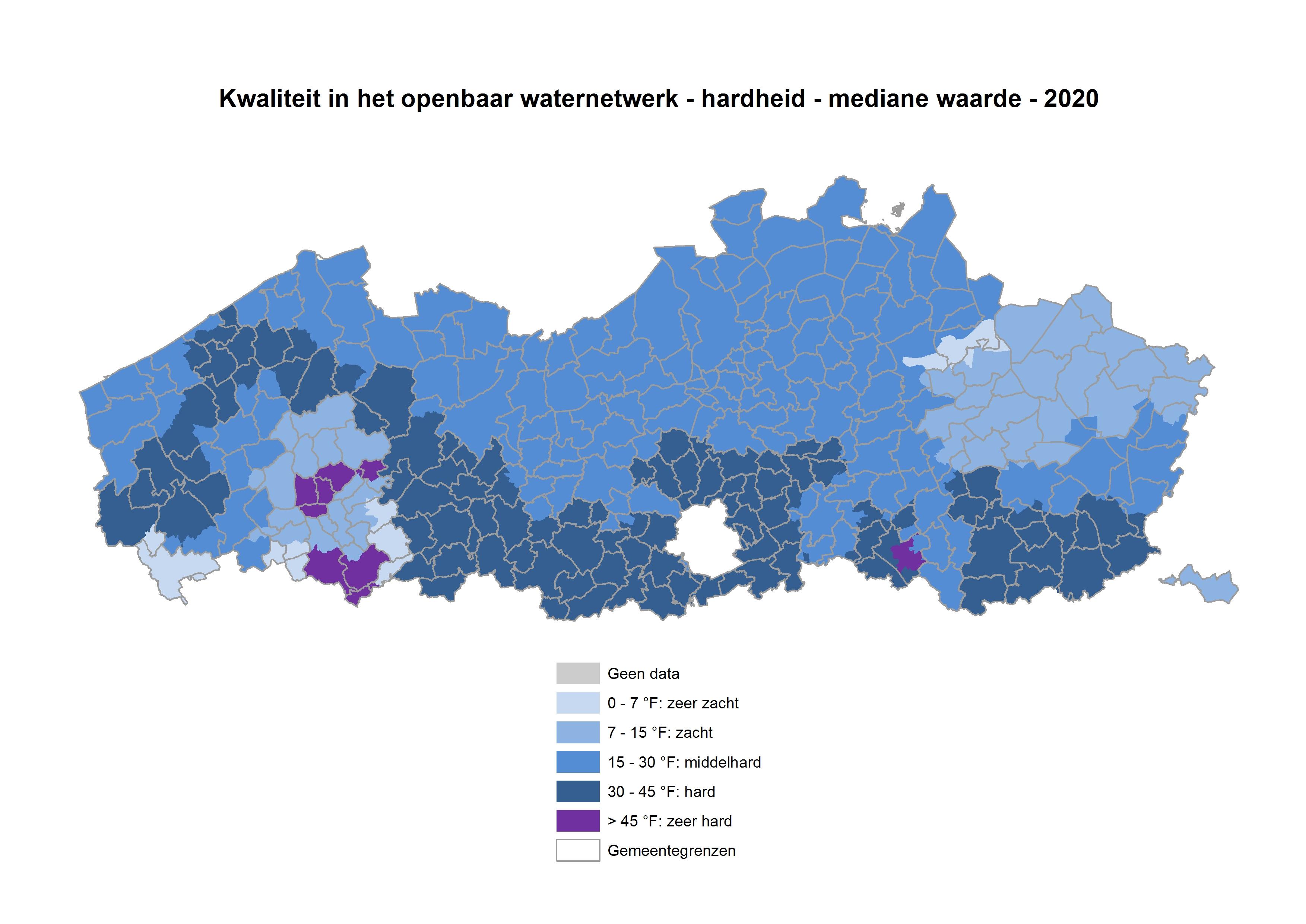 Kwaliteit in het openbaar waterdistributienetwerk – Hardheid – mediane waarde 2017