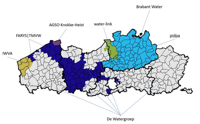 Overzicht 7 waterbedrijven actief in Vlaanderen.