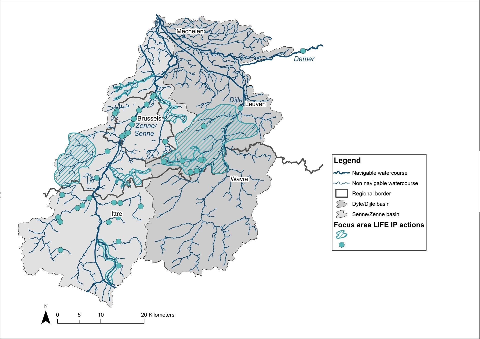 Kaart acties Dijle- en Zennebekken