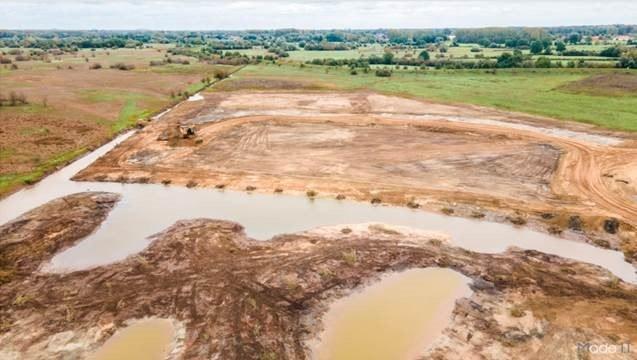 Foto afgegraven zanddepot tot moeraszone