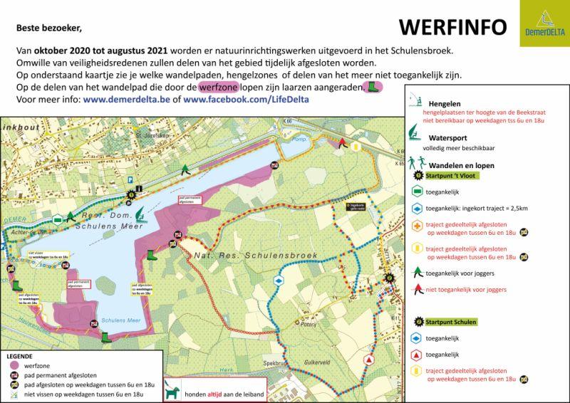 Plan van de werken aan het Schulensmeer tot augustus 2021