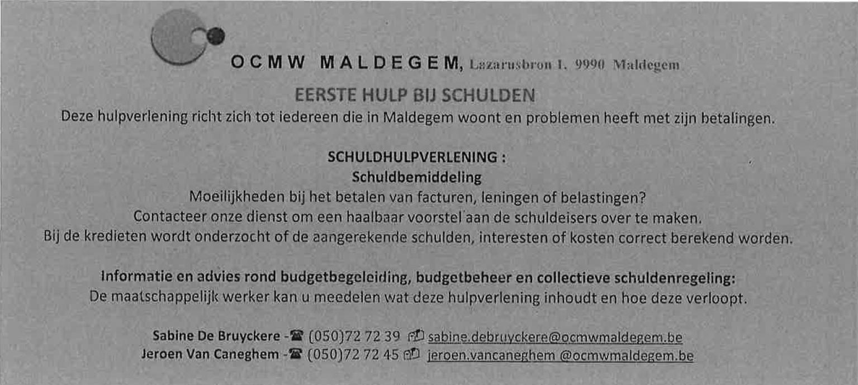 Voorbeeldkaartje van OCMW Maldegem