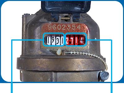 Watermeter aanduiding verbruik